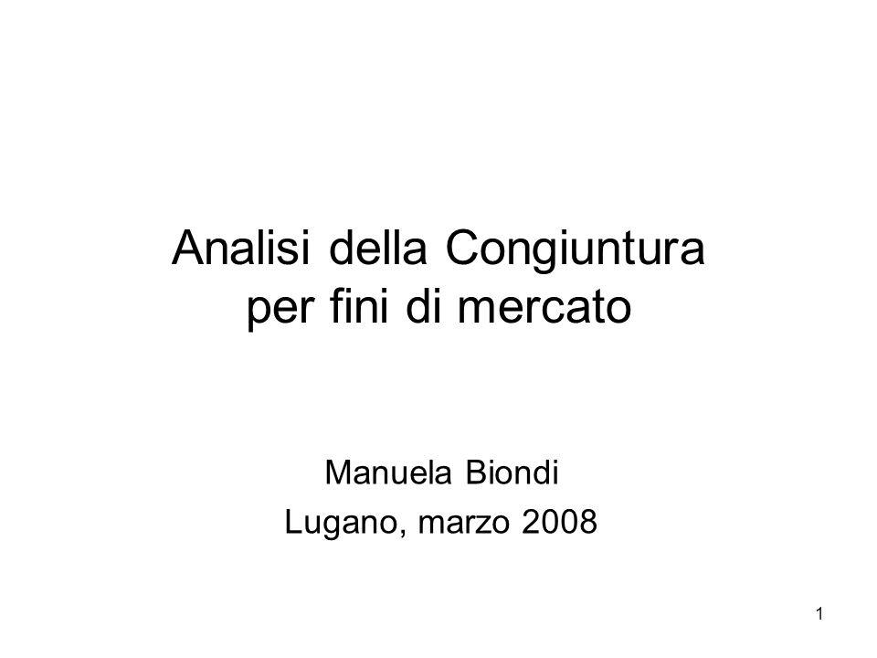 1 Analisi della Congiuntura per fini di mercato Manuela Biondi Lugano, marzo 2008