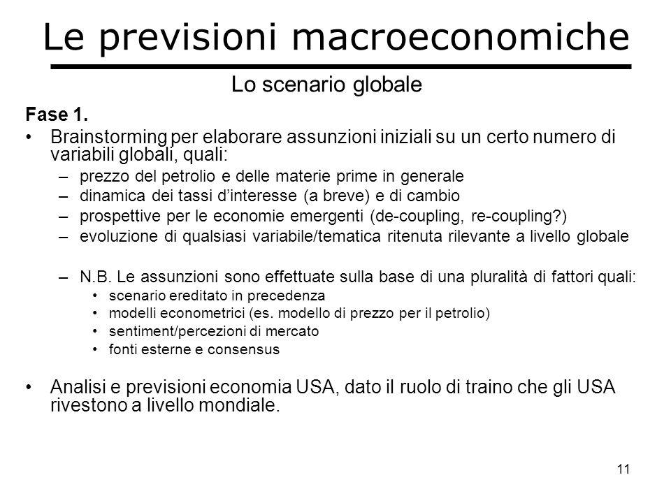 11 Le previsioni macroeconomiche Fase 1.
