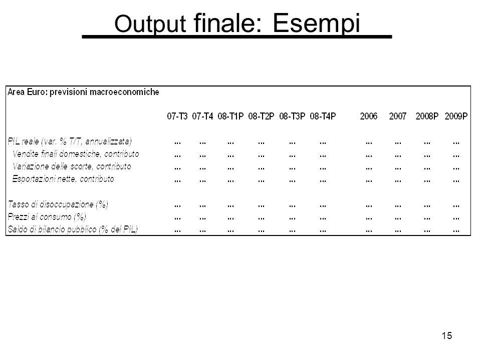 15 Output finale: Esempi