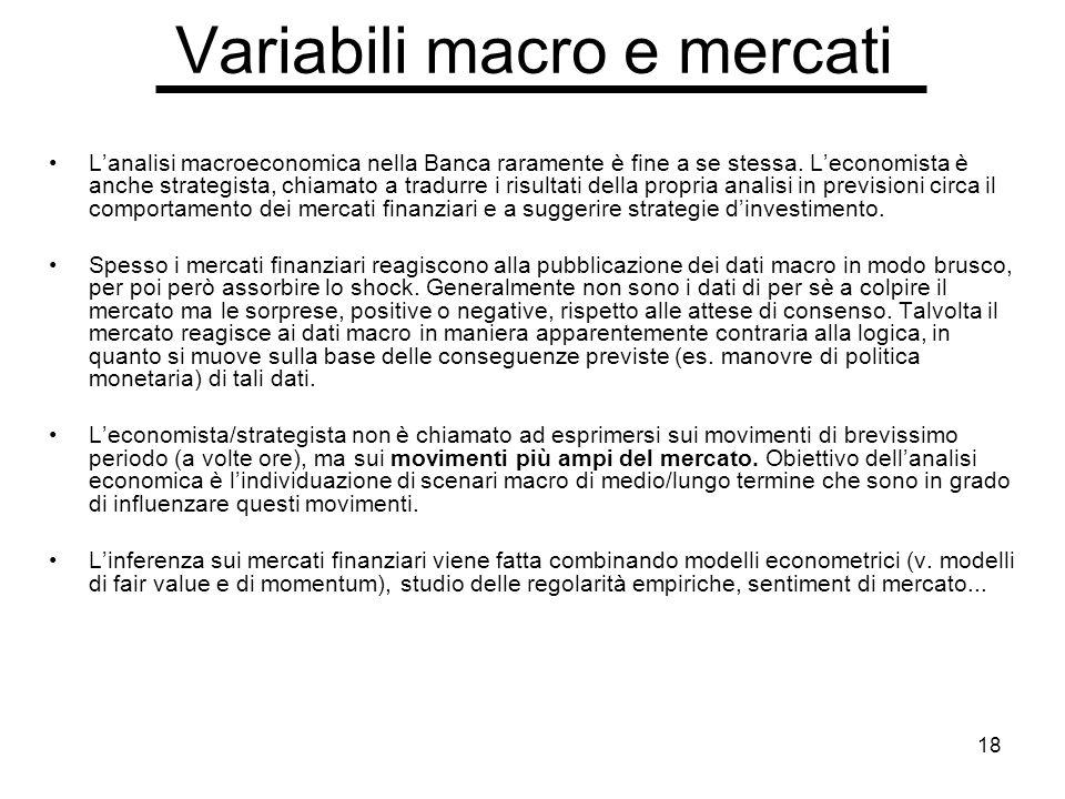 18 Variabili macro e mercati Lanalisi macroeconomica nella Banca raramente è fine a se stessa.