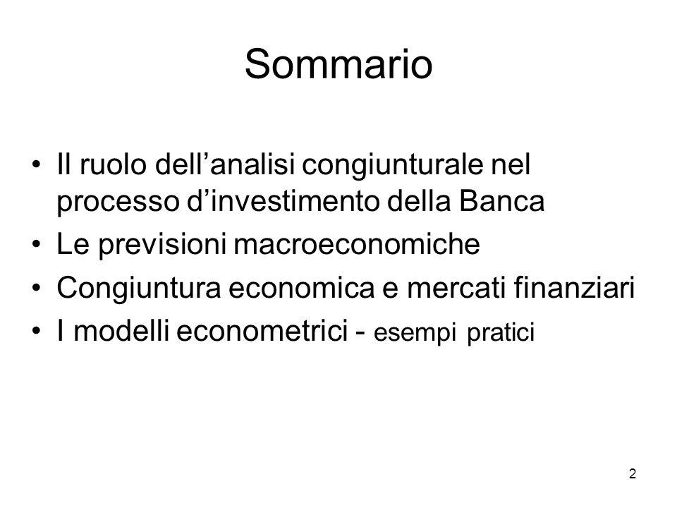 2 Sommario Il ruolo dellanalisi congiunturale nel processo dinvestimento della Banca Le previsioni macroeconomiche Congiuntura economica e mercati finanziari I modelli econometrici - esempi pratici