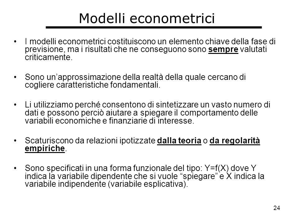 24 Modelli econometrici I modelli econometrici costituiscono un elemento chiave della fase di previsione, ma i risultati che ne conseguono sono sempre valutati criticamente.