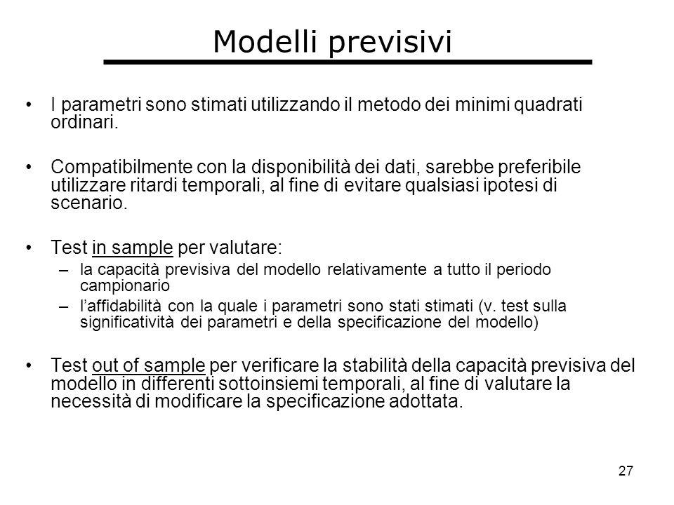 27 Modelli previsivi I parametri sono stimati utilizzando il metodo dei minimi quadrati ordinari.