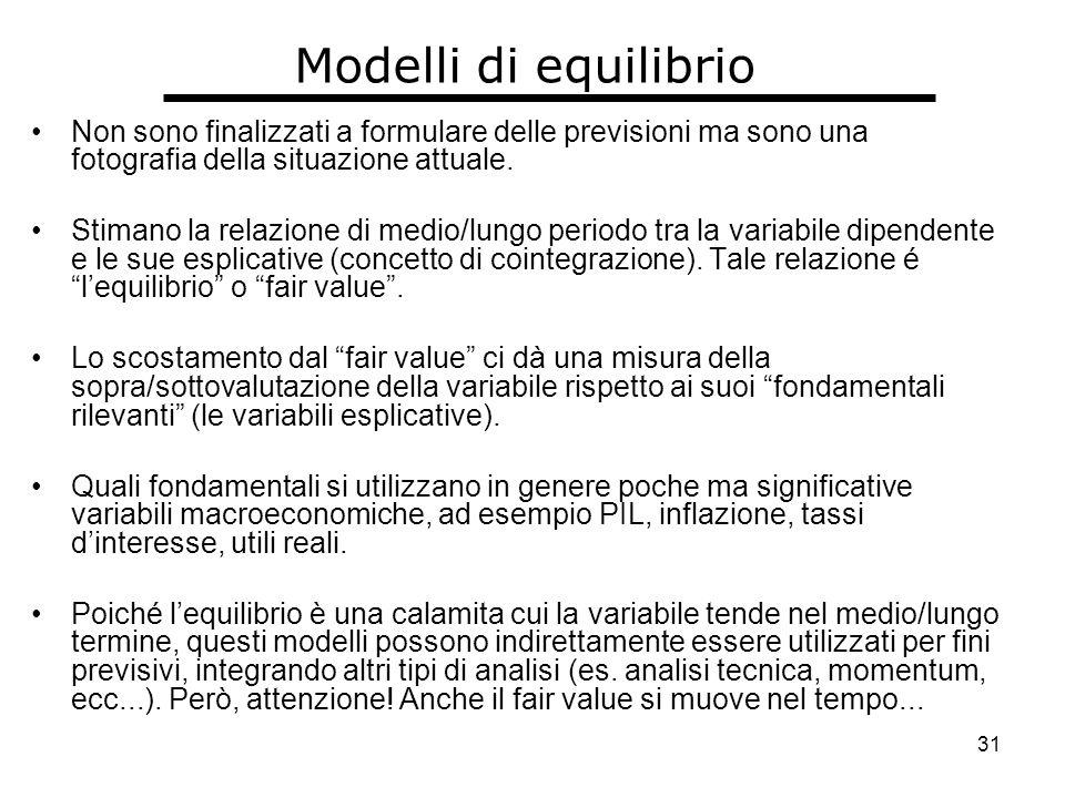 31 Modelli di equilibrio Non sono finalizzati a formulare delle previsioni ma sono una fotografia della situazione attuale.
