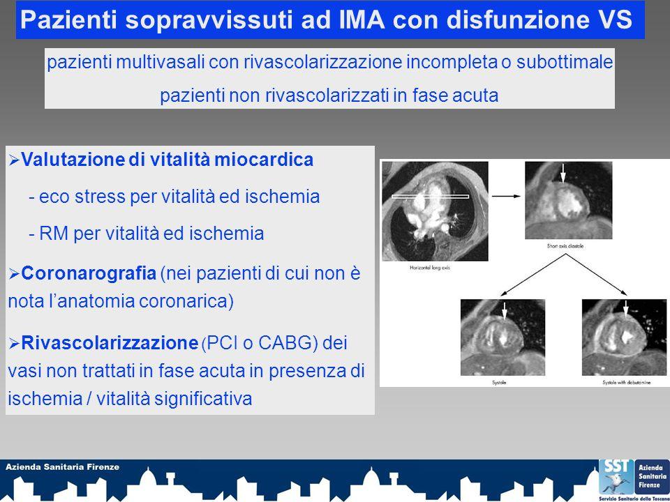 Pazienti sopravvissuti ad IMA con disfunzione VS pazienti multivasali con rivascolarizzazione incompleta o subottimale pazienti non rivascolarizzati in fase acuta Valutazione di vitalità miocardica - eco stress per vitalità ed ischemia - RM per vitalità ed ischemia Coronarografia (nei pazienti di cui non è nota lanatomia coronarica) Rivascolarizzazione ( PCI o CABG) dei vasi non trattati in fase acuta in presenza di ischemia / vitalità significativa