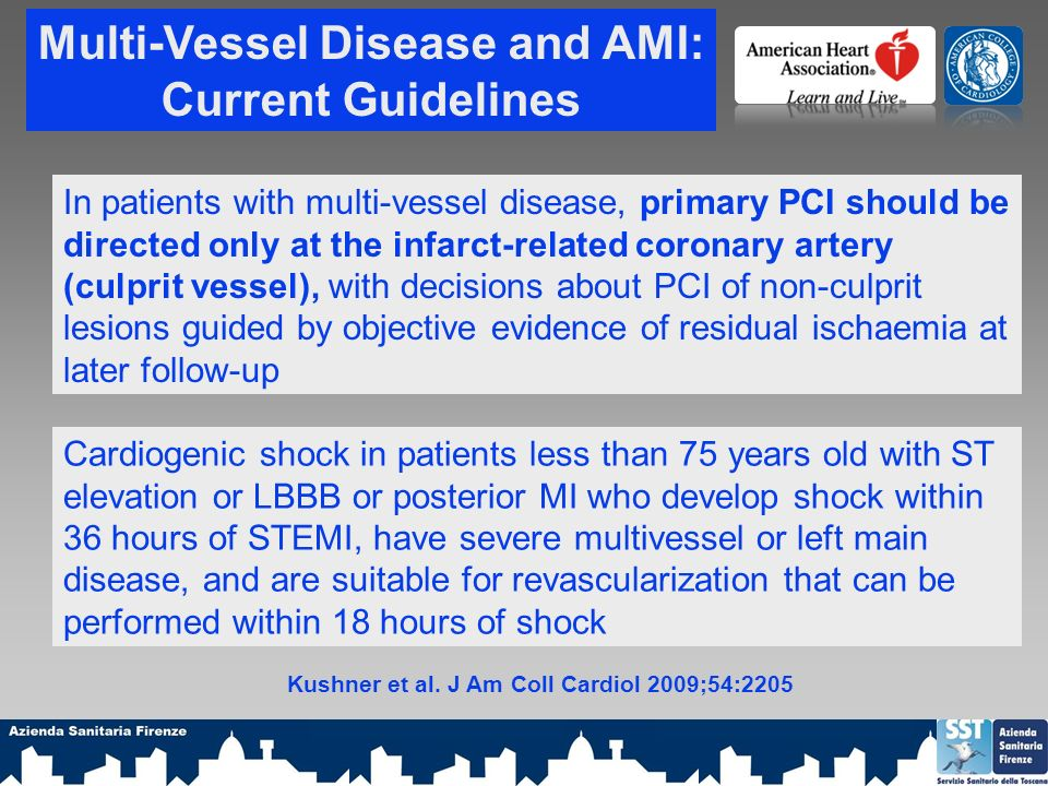 Kushner et al. J Am Coll Cardiol 2009;54:2205 Multi-Vessel Disease and AMI: Current Guidelines Cardiogenic shock in patients less than 75 years old wi