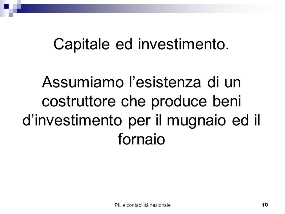 PIL e contabilità nazionale10 Capitale ed investimento. Assumiamo lesistenza di un costruttore che produce beni dinvestimento per il mugnaio ed il for