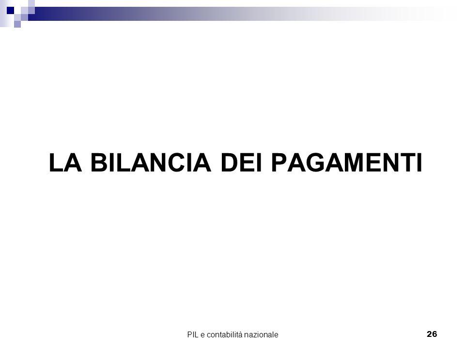 PIL e contabilità nazionale26 LA BILANCIA DEI PAGAMENTI