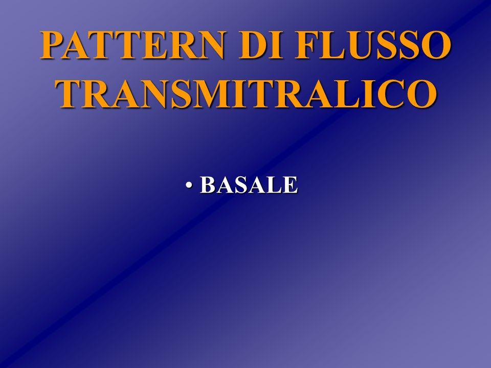 PATTERN DI FLUSSO TRANSMITRALICO: RELAZIONE CON IL PROFILO EMODINAMICO PWP r=.66 E/A r= -.90 PWP DecT (ms) (mm Hg) 4540353025201510500 1 2 3 4 5454035302520151050 0 50 100 150 200 250 300350 Giannuzzi et al.