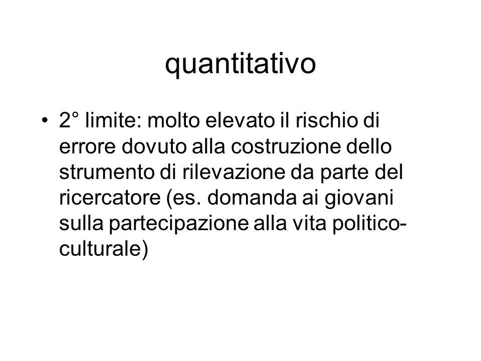 quantitativo 2° limite: molto elevato il rischio di errore dovuto alla costruzione dello strumento di rilevazione da parte del ricercatore (es. domand