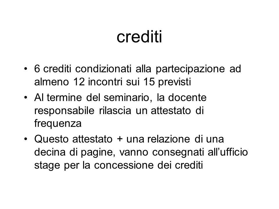 crediti 6 crediti condizionati alla partecipazione ad almeno 12 incontri sui 15 previsti Al termine del seminario, la docente responsabile rilascia un
