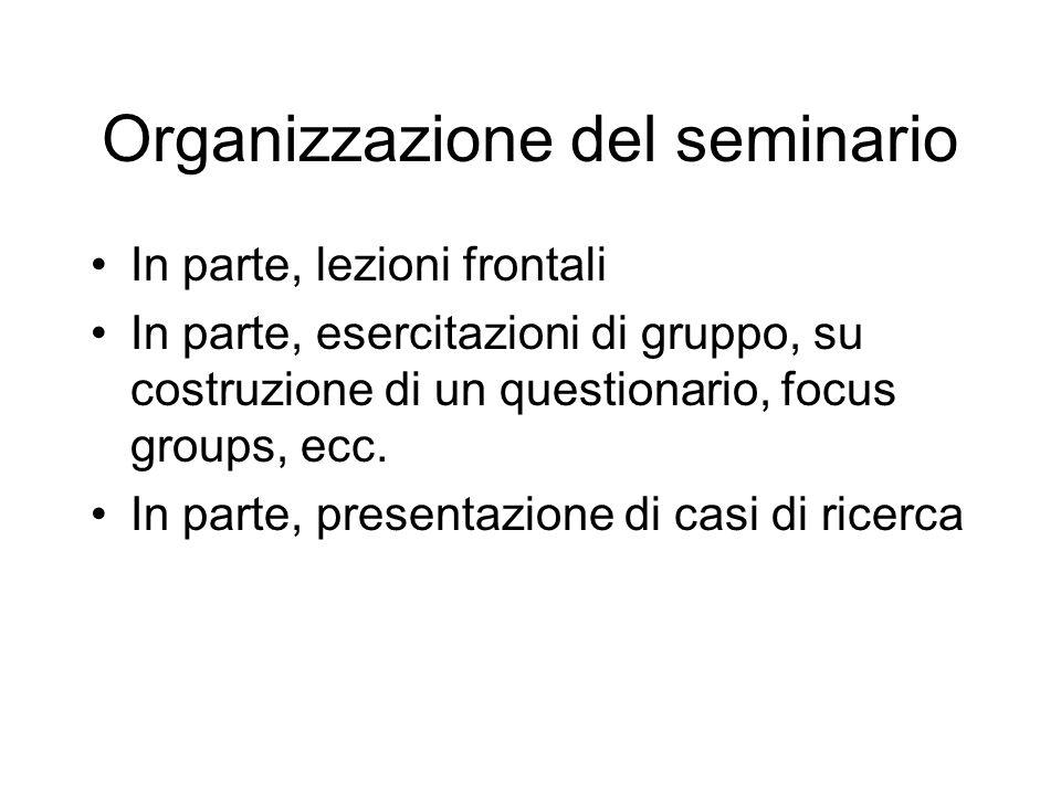 Organizzazione del seminario In parte, lezioni frontali In parte, esercitazioni di gruppo, su costruzione di un questionario, focus groups, ecc. In pa