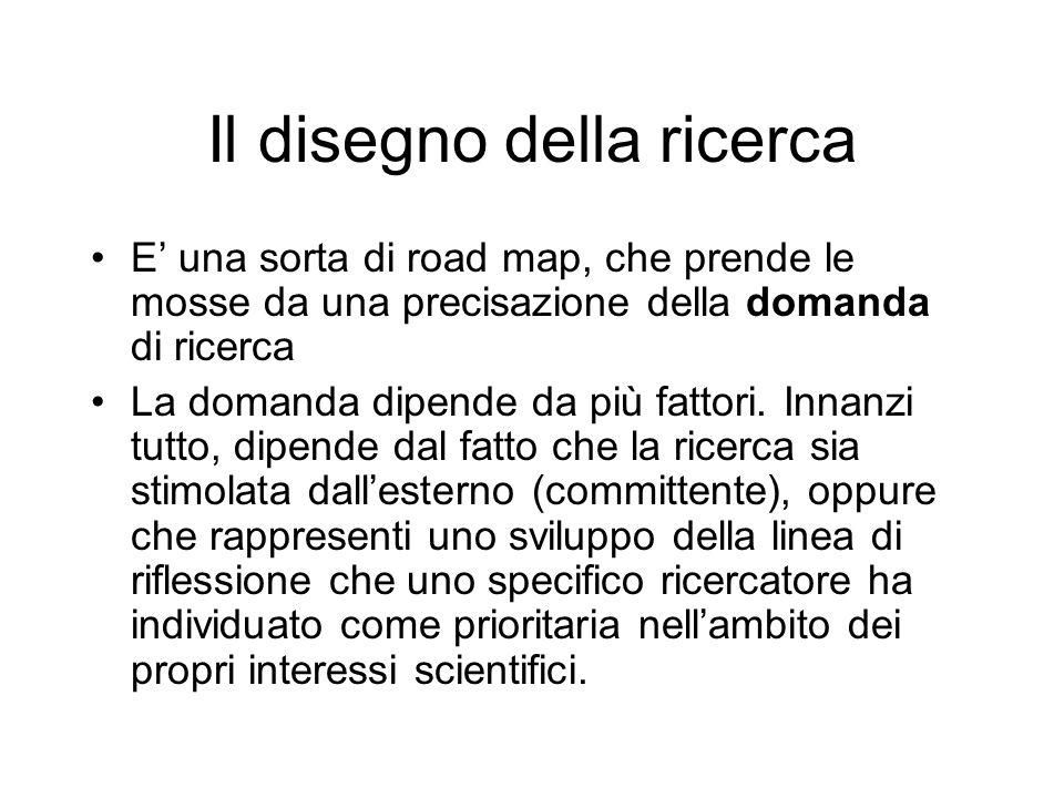 Il disegno della ricerca E una sorta di road map, che prende le mosse da una precisazione della domanda di ricerca La domanda dipende da più fattori.
