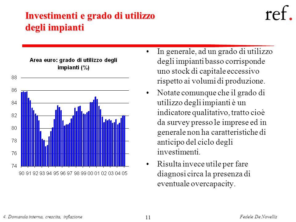 Fedele De Novellis4. Domanda interna, crescita, inflazione 11 Investimenti e grado di utilizzo degli impianti In generale, ad un grado di utilizzo deg