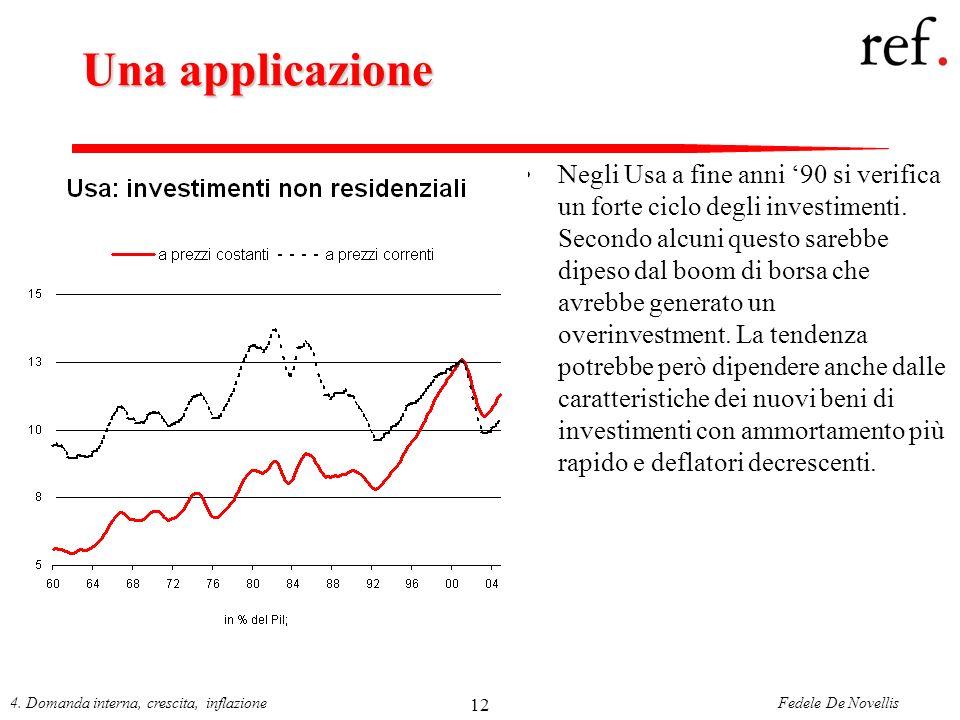 Fedele De Novellis4. Domanda interna, crescita, inflazione 12 Una applicazione Negli Usa a fine anni 90 si verifica un forte ciclo degli investimenti.