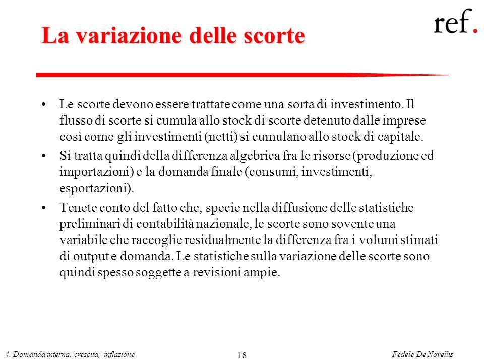 Fedele De Novellis4. Domanda interna, crescita, inflazione 18 La variazione delle scorte Le scorte devono essere trattate come una sorta di investimen