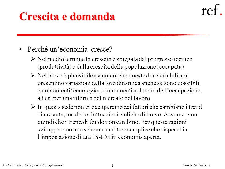 Fedele De Novellis4. Domanda interna, crescita, inflazione 2 Crescita e domanda Perché uneconomia cresce? Nel medio termine la crescita è spiegata dal