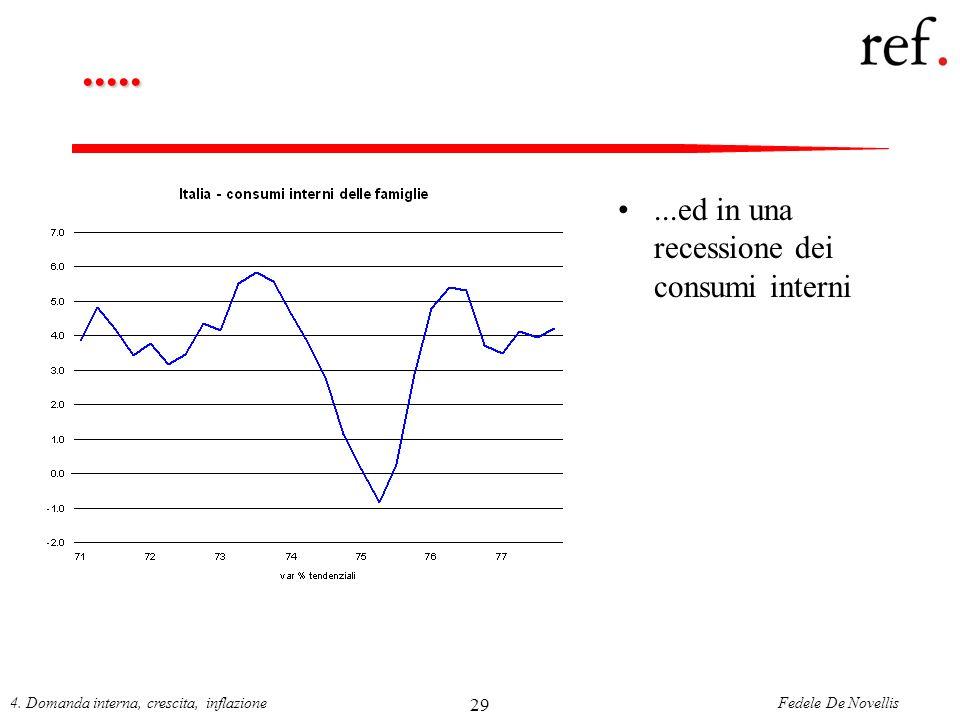 Fedele De Novellis4. Domanda interna, crescita, inflazione 29........ed in una recessione dei consumi interni