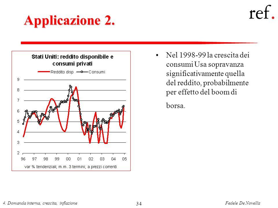 Fedele De Novellis4. Domanda interna, crescita, inflazione 34 Applicazione 2. Nel 1998-99 la crescita dei consumi Usa sopravanza significativamente qu