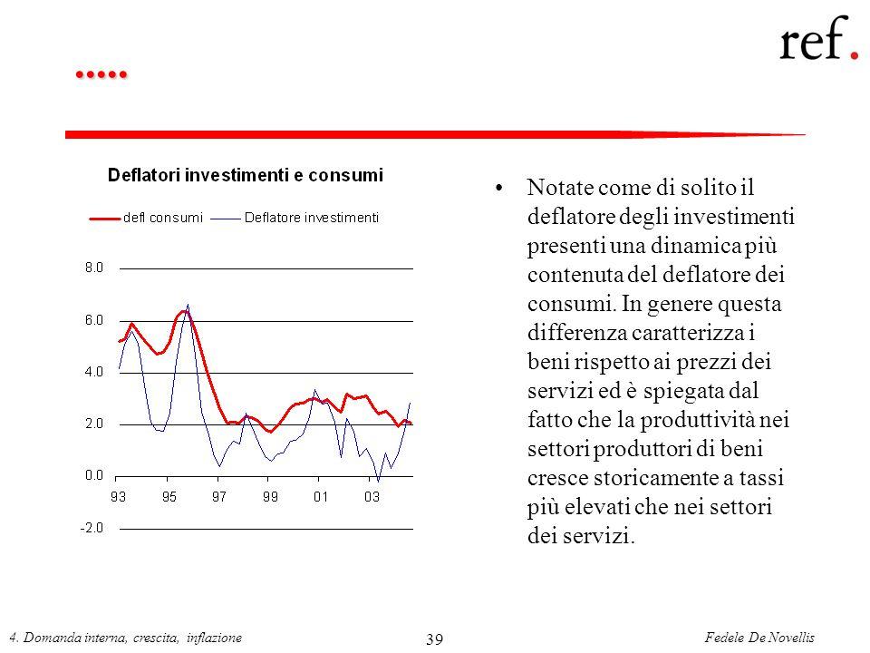 Fedele De Novellis4. Domanda interna, crescita, inflazione 39..... Notate come di solito il deflatore degli investimenti presenti una dinamica più con
