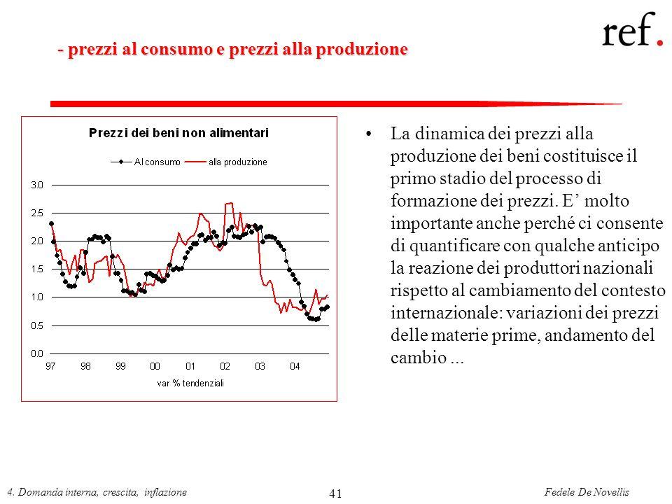 Fedele De Novellis4. Domanda interna, crescita, inflazione 41 - prezzi al consumo e prezzi alla produzione La dinamica dei prezzi alla produzione dei