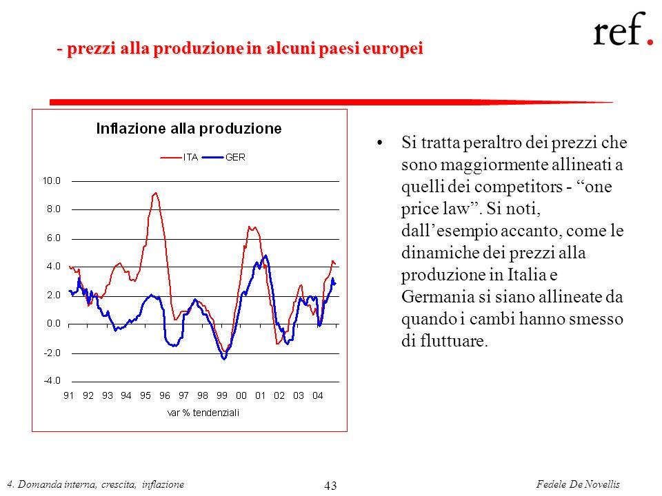 Fedele De Novellis4. Domanda interna, crescita, inflazione 43 - prezzi alla produzione in alcuni paesi europei Si tratta peraltro dei prezzi che sono