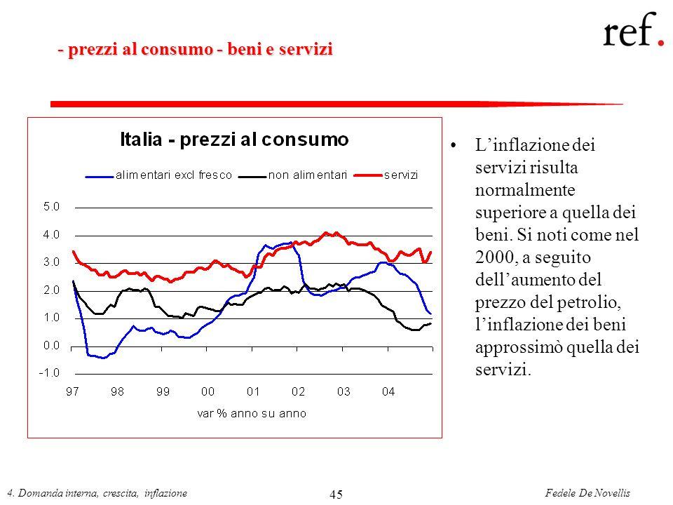 Fedele De Novellis4. Domanda interna, crescita, inflazione 45 - prezzi al consumo - beni e servizi Linflazione dei servizi risulta normalmente superio