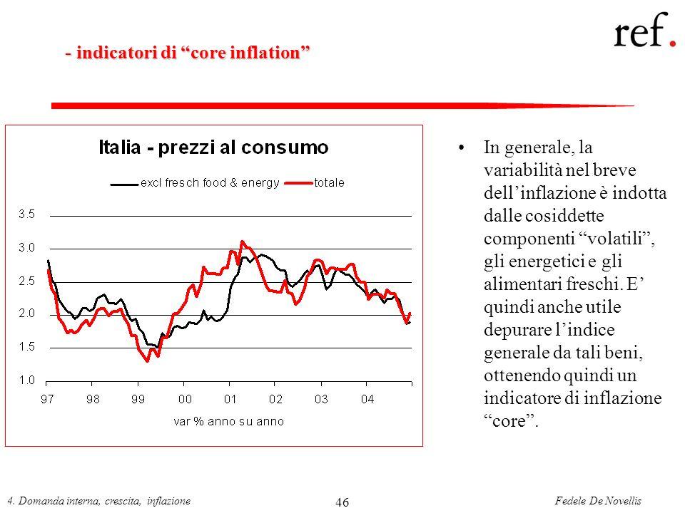 Fedele De Novellis4. Domanda interna, crescita, inflazione 46 - indicatori di core inflation - indicatori di core inflation In generale, la variabilit