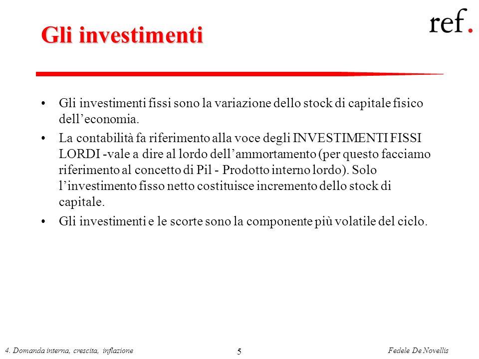 Fedele De Novellis4. Domanda interna, crescita, inflazione 5 Gli investimenti Gli investimenti fissi sono la variazione dello stock di capitale fisico
