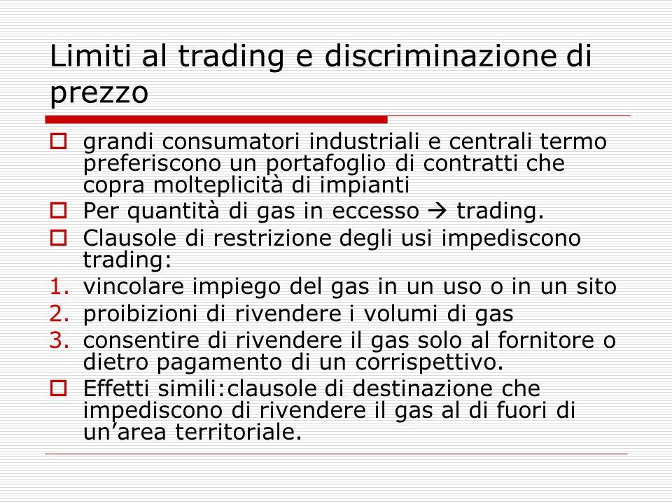 Limiti al trading e discriminazione di prezzo grandi consumatori industriali e centrali termo preferiscono un portafoglio di contratti che copra molteplicità di impianti Per quantità di gas in eccesso trading.