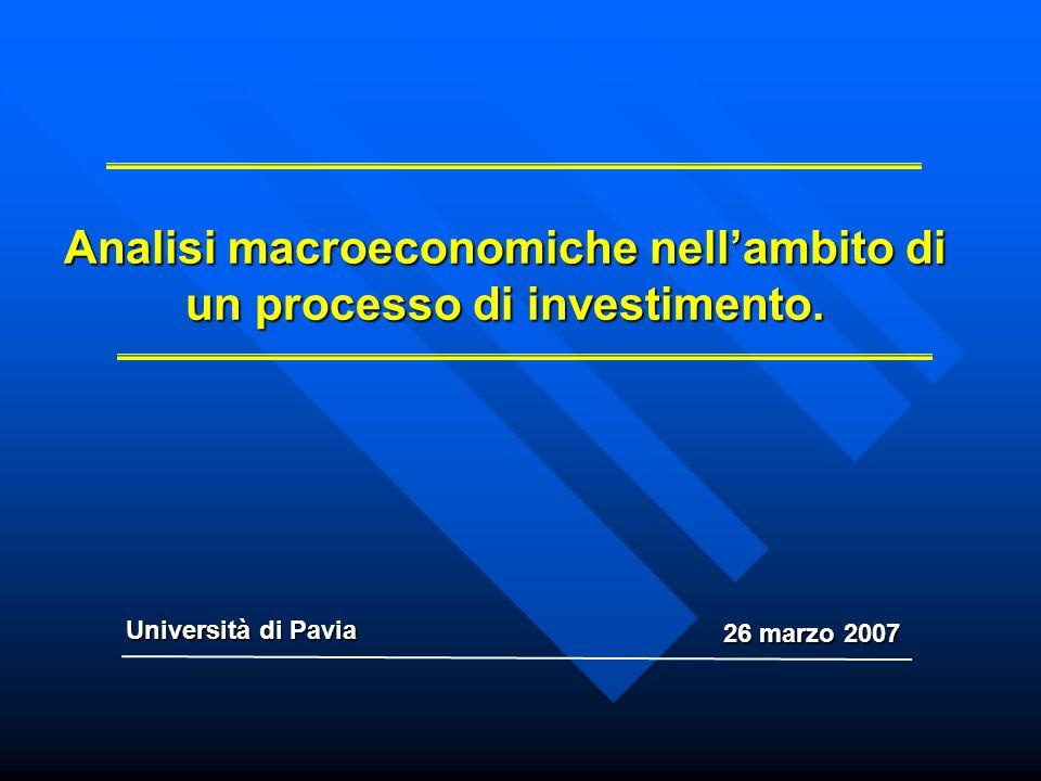 Analisi macroeconomiche nellambito di un processo di investimento. Università di Pavia 26 marzo 2007