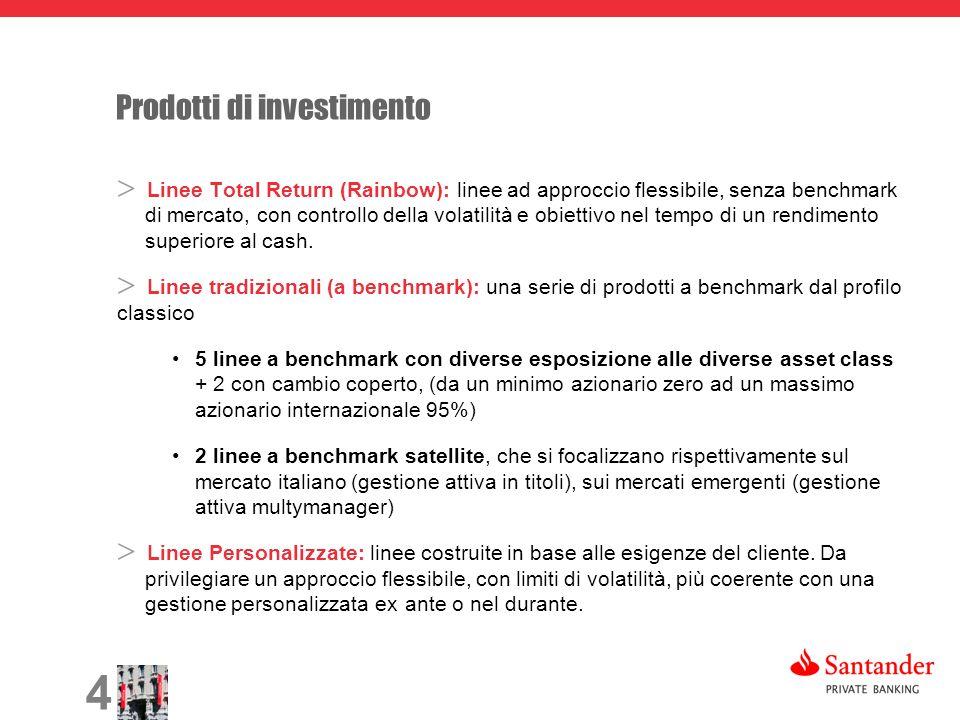 4 Prodotti di investimento Linee Total Return (Rainbow): linee ad approccio flessibile, senza benchmark di mercato, con controllo della volatilità e obiettivo nel tempo di un rendimento superiore al cash.