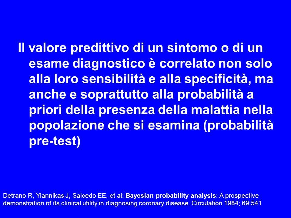 Il valore predittivo di un sintomo o di un esame diagnostico è correlato non solo alla loro sensibilità e alla specificità, ma anche e soprattutto all