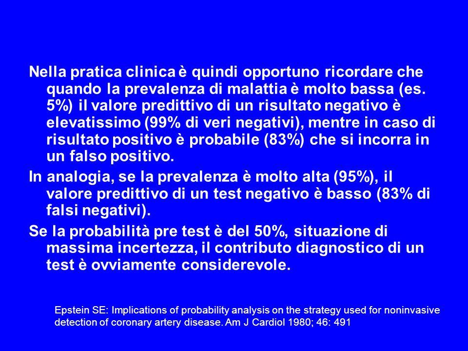 Nella pratica clinica è quindi opportuno ricordare che quando la prevalenza di malattia è molto bassa (es. 5%) il valore predittivo di un risultato ne