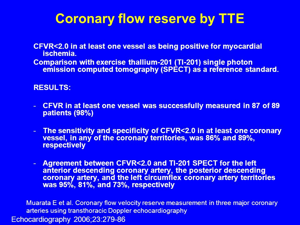 Coronary flow reserve by TTE CFVR<2.0 in at least one vessel as being positive for myocardial ischemia. Comparison with exercise thallium-201 (Tl-201)