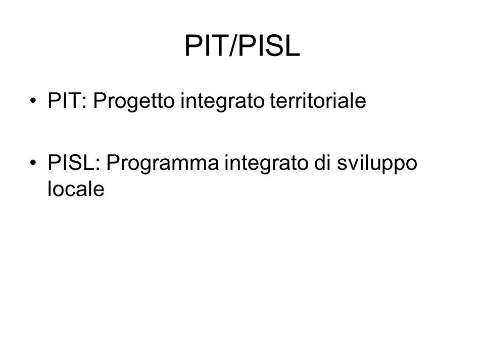PIT/PISL PIT: Progetto integrato territoriale PISL: Programma integrato di sviluppo locale