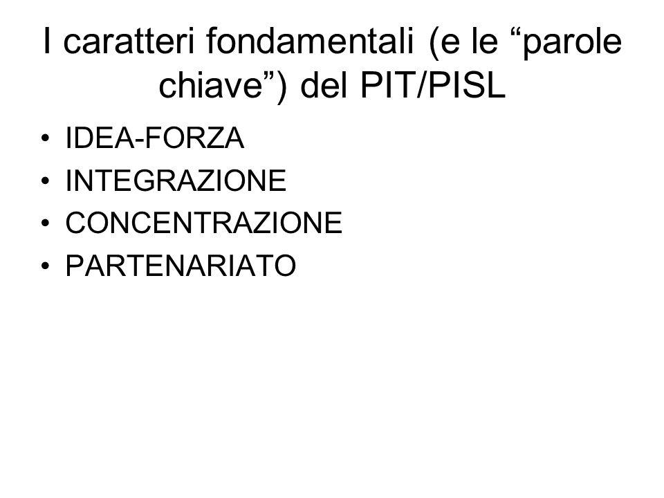 I caratteri fondamentali (e le parole chiave) del PIT/PISL IDEA-FORZA INTEGRAZIONE CONCENTRAZIONE PARTENARIATO