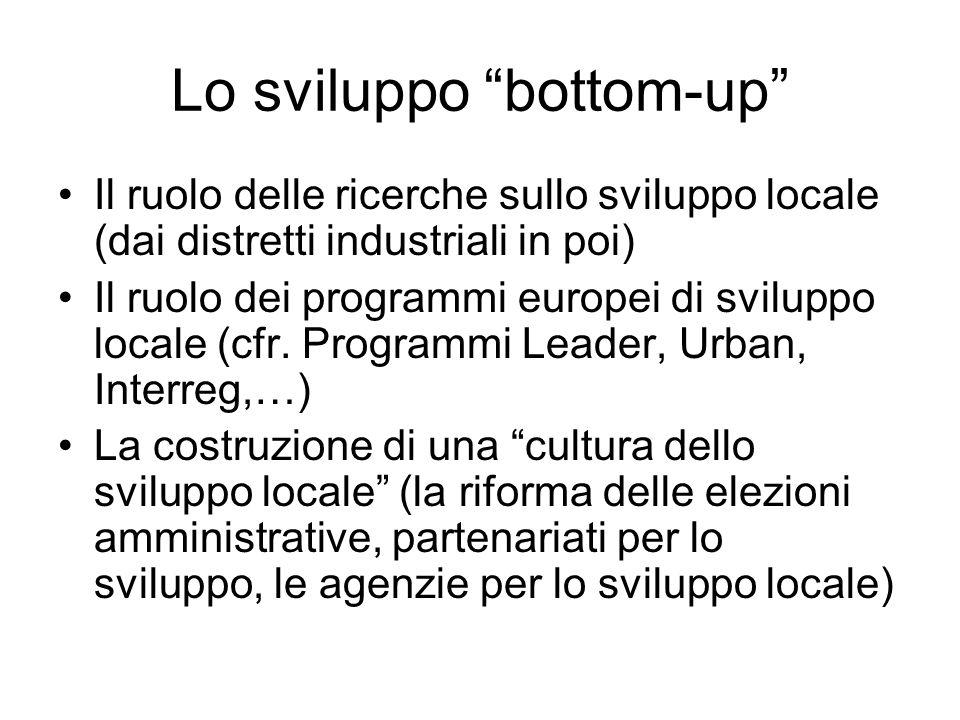 Lo sviluppo bottom-up Il ruolo delle ricerche sullo sviluppo locale (dai distretti industriali in poi) Il ruolo dei programmi europei di sviluppo loca