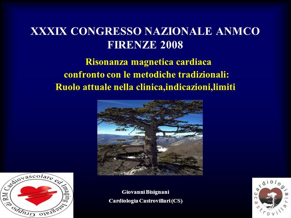 XXXIX CONGRESSO NAZIONALE ANMCO FIRENZE 2008 Risonanza magnetica cardiaca confronto con le metodiche tradizionali: Ruolo attuale nella clinica,indicaz