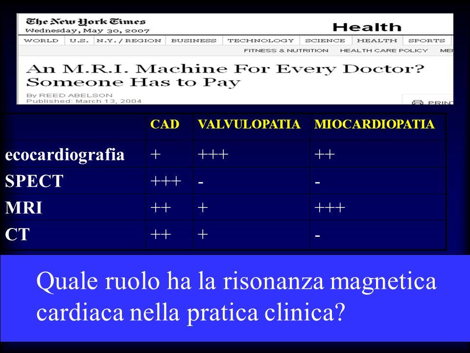Quale ruolo ha la risonanza magnetica cardiaca nella pratica clinica? CADVALVULOPATIAMIOCARDIOPATIA ecocardiografia++++++ SPECT+++-- MRI++++++ CT+++-