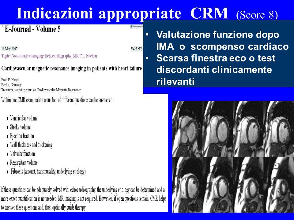 Indicazioni appropriate CRM (Score 8) Valutazione funzione dopo IMA o scompenso cardiaco Scarsa finestra eco o test discordanti clinicamente rilevanti