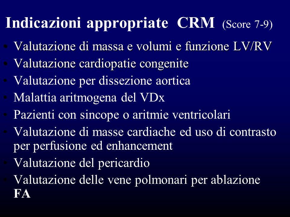 Indicazioni appropriate CRM (Score 7-9) Valutazione di massa e volumi e funzione LV/RVValutazione di massa e volumi e funzione LV/RV Valutazione cardi