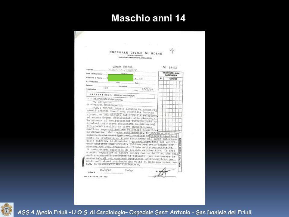 ASS 4 Medio Friuli –U.O.S. di Cardiologia– Ospedale Sant Antonio - San Daniele del Friuli Maschio anni 14