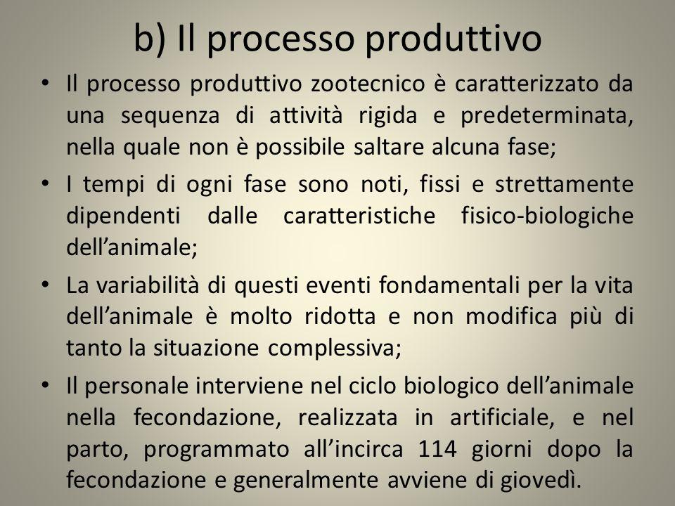 b) Il processo produttivo Il processo produttivo zootecnico è caratterizzato da una sequenza di attività rigida e predeterminata, nella quale non è po