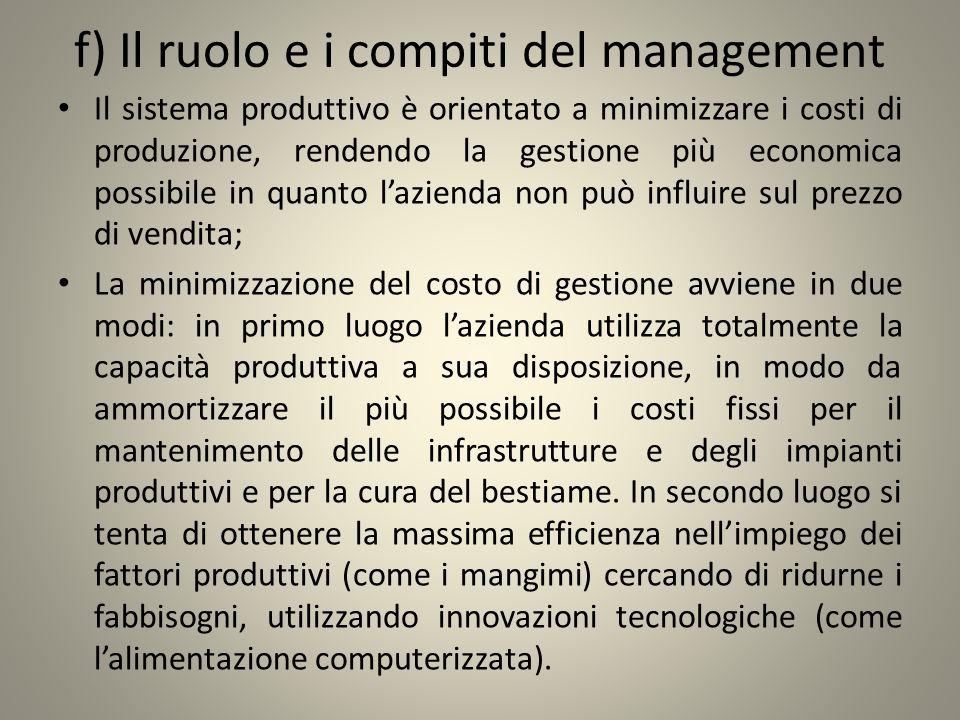 f) Il ruolo e i compiti del management Il sistema produttivo è orientato a minimizzare i costi di produzione, rendendo la gestione più economica possi