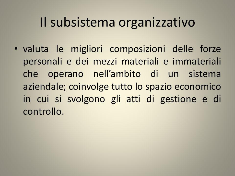 Il subsistema organizzativo valuta le migliori composizioni delle forze personali e dei mezzi materiali e immateriali che operano nellambito di un sis
