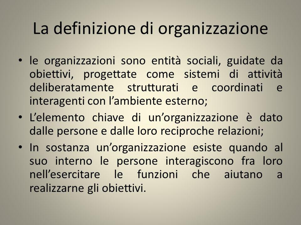 La definizione di organizzazione le organizzazioni sono entità sociali, guidate da obiettivi, progettate come sistemi di attività deliberatamente stru