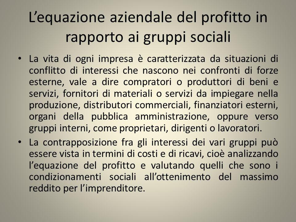 Lequazione aziendale del profitto in rapporto ai gruppi sociali La vita di ogni impresa è caratterizzata da situazioni di conflitto di interessi che n