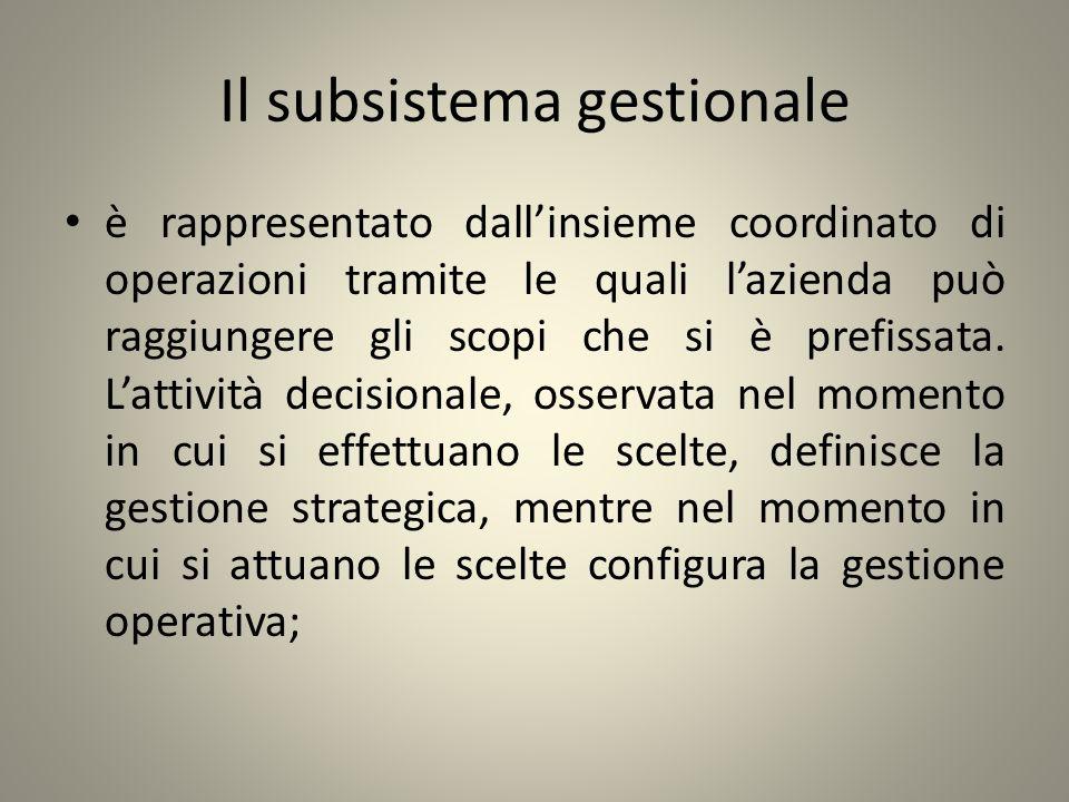Il subsistema gestionale è rappresentato dallinsieme coordinato di operazioni tramite le quali lazienda può raggiungere gli scopi che si è prefissata.