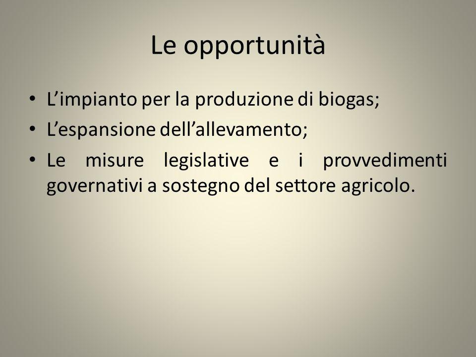 Le opportunità Limpianto per la produzione di biogas; Lespansione dellallevamento; Le misure legislative e i provvedimenti governativi a sostegno del
